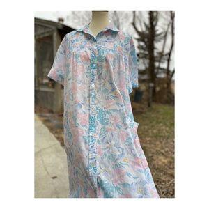 Vintage 80s Muumu House Dress Pastel Floral Kawaii